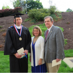 Jim Stasny, House, 1962, right, and wife Mary Bates celebrate their son Jackson Stasny's graduation from Marymount University.